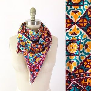 Vintage India Silk Block Printed Colorful Scarf